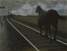 Alex Colville (Canadian Horse and Train, glazed oil on hardboard, Gift of Dominion Foundries and Steel, Ltd. © Courtesy A. Part of the Art Gallery of Hamilton's Canadian Collection. Alex Colville, Canadian Painters, Canadian Artists, Art Gallery Of Hamilton, Toronto, Critique D'art, Art Gallery Of Ontario, Magic Realism, Hyperrealism