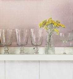 #pinkwalls #yellowflowers #kitchen   #shelfie #pinkslip