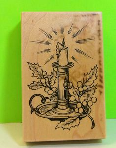 1995 PSX G-1598 Candlestick With Holly Leaves & Berries Stamp Block