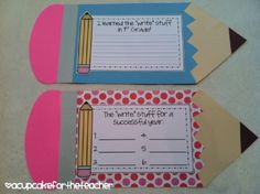 Cute way to display writing rules...do at the beginning of the year, and add a new pencil for each rule discussed.