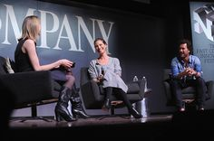 LR Amy Farley Christy Turlington Burns and Blake Mycoskie appear during The Fast Company Innovation Festival presentation of 'The Creativity Of...