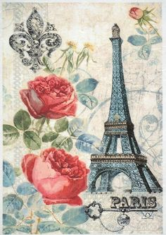 Rice Paper for Decoupage Decopatch Scrapbook Craft Sheet Vintage Paris & Roses