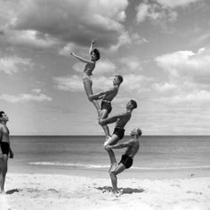 Beachobatics, Bondi Beach by George Caddy, 1943, http://acms.sl.nsw.gov.au/ #Photography #Beachobatics #George_Caddy #State_Library_New_South_Wales