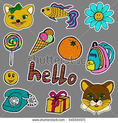 A set of fashion labels, badges. Cat, cougar, fish, flower, camomile, candy, ice cream, orange, backpack, hello, smiley, gift, old phone. Stickers, pins  #bubushonok #art #bubushonokart #design #vector #shutterstock #pattern #set #doodle #banner #sticker #pin #stickers #badges   #logos #logo