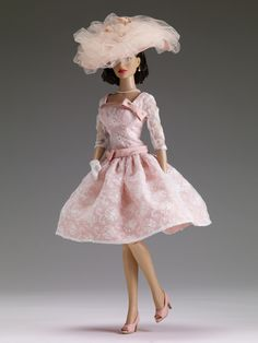 """#Pin2Win $99.99 DeeAnna Denton """"High Tea at The Plaza"""" - Tonner Doll Company Outfit only  Fits 16"""" curvaceous body  Peach dress with white embroidered organza overlay and attached belt  White hat with peach tulle and faux flower decoration  Matching faux leather shoes  Faux pearl necklace  Faux pearl earrings  White gloves  LE 200"""