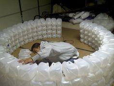 Milk jug igloo.  Great idea for a winter birthday party.