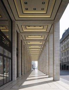 Collonade of the Upper East Side Berlin project by GMP Architekten.-Corridor