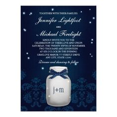 Navy Blue Mason Jar with Fireflies Wedding Personalized Announcement