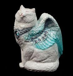 "WINDSTONE EDITIONS ""WINTER #1"" SMALL FLAP CAT FIGURINE; WINGED CAT STATUE"