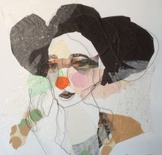 Mixed media. Steel wire portrait. Paper collage. Antoinette. 50x50 cm.