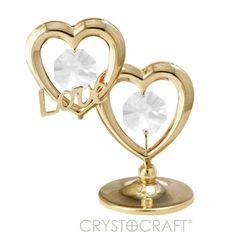 Alma Gêmea - Corações banhados a ouro 24K com cristais SWAROVSKI com o dizer LOVE