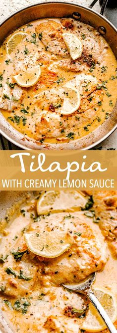 fish recipes This Skillet Tilapia with creamy lemon sauce tastes like summertime. The fresh garlic, herbs and tender flaky fish makes this the best tilapia recipe ever! And, its ready in under 30 minutes! Best Tilapia Recipe, Creamy Tilapia Recipe, Lemon Sauce For Fish, Creamy Sauce For Fish, How To Cook Tilapia, How To Cook Fish, Sauce Crémeuse, Salmon Recipes, Fish Sauce Recipes