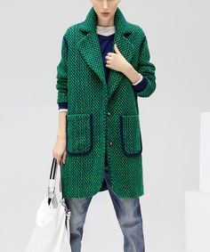 Another great find on #zulily! Green Pocket-Front Coat #zulilyfinds