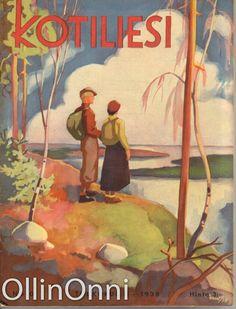 Kotiliesi 10/1938   Kansi Martta Wendelin. Vintage Children, Finland, Martini, Childrens Books, Retro, Elsa, Artwork, Prints, Painting