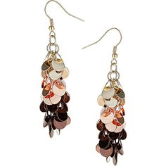 Chocolate disc earrings ($14) ❤ liked on Polyvore