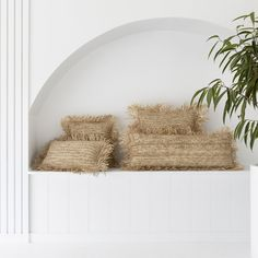 Beautiful textured Raffia Cushion Covers. 40 x 40cm - does not include the inner 50 x 50cm - does not include inner 50 x 30cm - INCLUDES inner 85 x 30cm - INCLUDES inner | AU FAIT EXCLUSIVE This item is hand made using natural materials. Please expect minor variations in the colour of the raffia fibre. If your order Interior Inspiration, Interior Ideas, Natural Materials, Cushion Covers, Cushions, Handmade, Crafts, Furniture, Beautiful