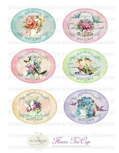 Oval Digital Collage Slides  Flower Tea Cup by arinaatelierDigital, $4.10