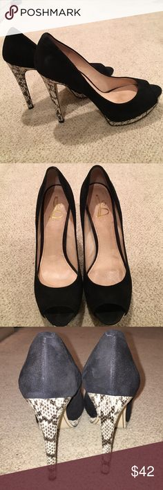 "J and D black suede heels Open toe suede 4"" ""snake"" like heels by Joan and David. Worn once Joan & David Shoes Heels"