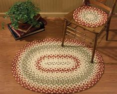 Mill Village Braided Chairpad Country Rugs, Country Curtains, Primitive Country, Sage Color, Color Red, Oval Rugs, Fox Decor, Kitchen Decor Themes, Braided Rugs