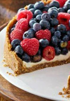 """Easy Berry """"Torte"""" -- Prepare this delicious dessert recipe in just 30 minutes using your favorite seasonal fruits. Veganize it, of course . Easy Desserts, Delicious Desserts, Dessert Recipes, Yummy Food, Patriotic Desserts, Holiday Desserts, Christmas Recipes, Holiday Recipes, Torte Recipe"""