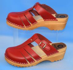 Troentorp Bastad RED Swedish Mary Jane Wooden Clogs Made in Swede Size 38 #Troentorp #Clogs #Casual