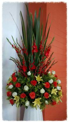 . Tropical Flower Arrangements, Church Flower Arrangements, Funeral Arrangements, Beautiful Flower Arrangements, Beautiful Flowers, Altar Flowers, Church Flowers, Funeral Flowers, Flower Shop Decor