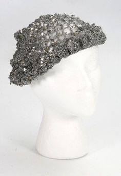 042157065a7ab Vintage Gray Silver Stretch Lame   Sequins Ladies Fancy Party Casual Beret  Hat