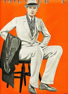 1924 Fashion Park men's suits ad. A rare sight of a scarf being used with the suit