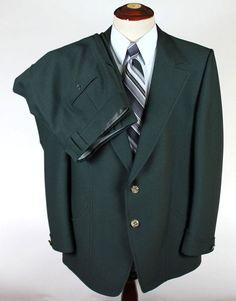 Mens 2 Button Suit Blazer 48L Trousers 40w 30l Green Dragon Engraving Dual Vent #Unbranded #TwoButton