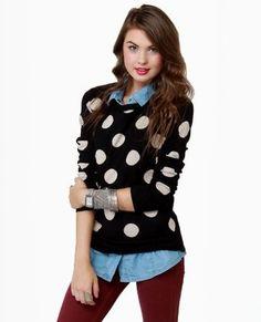 Cute polka dot sweater!