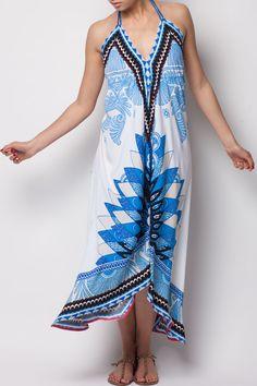 Cream and Blue Print Halter Dress