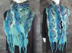 Turquoise green nuno felted silk wool scarf by MariaCsury on Etsy