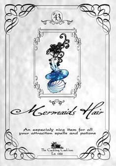 Mermaid Hair potion ingredient label - cool for a Harry Potter party or a Halloween apothecary! Halloween Apothecary Labels, Halloween Bottle Labels, Halloween Spells, Apothecary Jars, Holidays Halloween, Halloween Crafts, Halloween Printable, Halloween Signs, Halloween Decorations