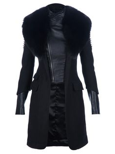 Black wool blend coat from Philipp Plein featuring a black fur collar, a leather under-layer with a funnel neck and a front zip fastening, black studding at the shoulders, three flap pockets, long sleeves with leather cuff sections, and a signature logo plaque at the back of the shoulders.