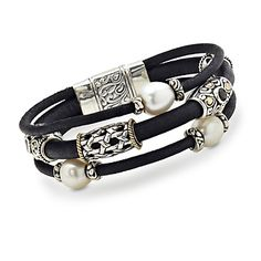 Multi-Gem Leather Bracelet With Cultured Pearl In Two-Tone