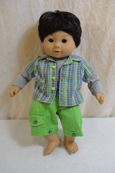 American Girl Bitty Baby Boy Twin Doll Brown Eyes Black Hair 1192-4-13