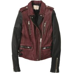 Leather jacket ($200) ❤ liked on Polyvore featuring outerwear, jackets, tops, leather jackets, flap jacket, genuine leather jackets, red jacket and real leather jackets