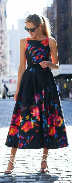 abstract floral tea-length dress, white wrap-around ankle strap heeled sandal + sunglasses {milly, l.a.m.b., stella mccartney}