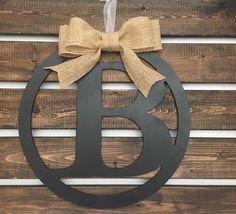Letter Wreath by LetterFlyDesigns https://www.etsy.com/listing/461438812/letter-wreath-initial-door-wreath