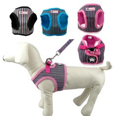 Puppy Dog Harness and Walking Leads Set Strip Style 4 Sizes 6 Colors