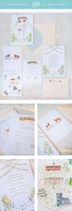 Such cute wedding invitations using a drawing of the couple