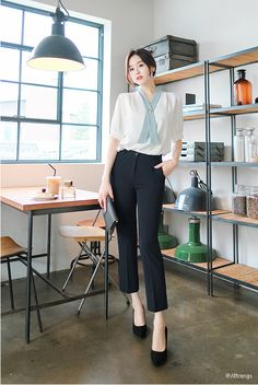 T-Shirts, Dress, Blouse, Skirts, Pants & Korean Fashion Office, Korean Girl Fashion, Korean Fashion Trends, Ulzzang Fashion, Work Fashion, Smart Casual Women Office, Office Outfits Women Casual, Stylish Work Outfits, Formal Outfits