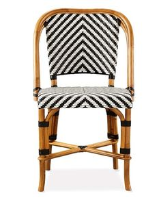 Parisian Bistro Woven Side Chair, Black/White
