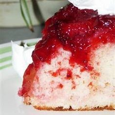 "Fresh Strawberry Upside Down Cake   ""Many of my friends and neighbors can't wait until I start preparing this cake."""