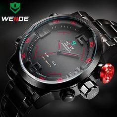 652faba5dccd Top Luxury Brand WEIDE Men Army Military Sports Watches Men s Quartz LED  Display Clock Full Steel