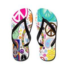 Peace Paisley Collage FF Flip Flops > Flip-Flop Fanatic