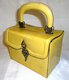 Vintage Yellow Patent Leather Box Handbag Vintage by salvagetheory, $145.00