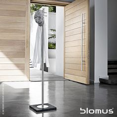 Menoto stainless steel #wardrobestand features swivel hook and extra firm stand.http://www.vincimed.com/blomus-menoto-wardrobe-stand-68628