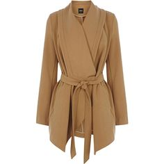 OASIS Short Drape Coat ($57) ❤ liked on Polyvore featuring outerwear, coats, jackets, coats & jackets, natural, wrap coat, brown coat, tie belt, drape coat and oasis coat