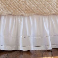 """Taylor Linens Tailored Pinefore Eastern King white or creams ale limited time 18"""" $210"""